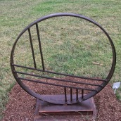 "Bob Teasdale ""2,3,4"" (recycled steel wagon rim and reinforcing rod from Burrinjuck dam wall)"
